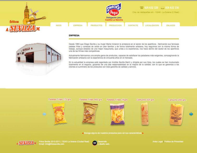 Fritos Sevilla s.l - Pagina estática  para empresa de frutos secos y snack 1