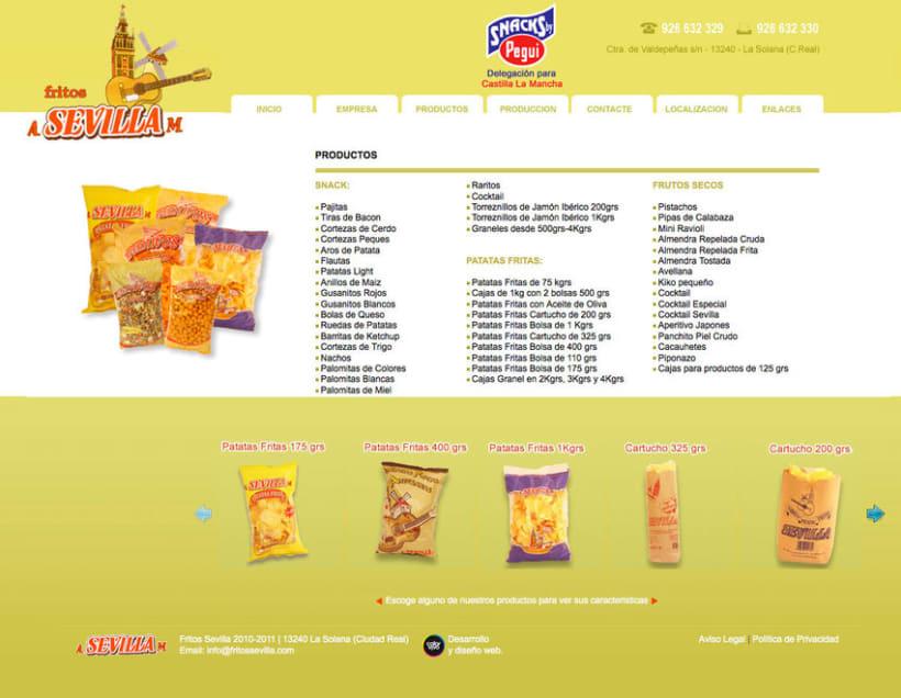 Fritos Sevilla s.l - Pagina estática  para empresa de frutos secos y snack 2