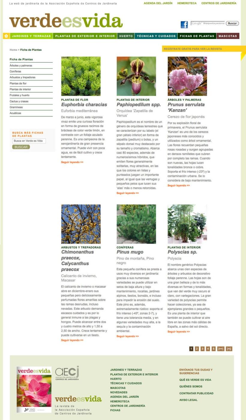 Verdeesvida - Pagina a medida para la Asociación Española de Centros de Jardinería(aEcj) 1