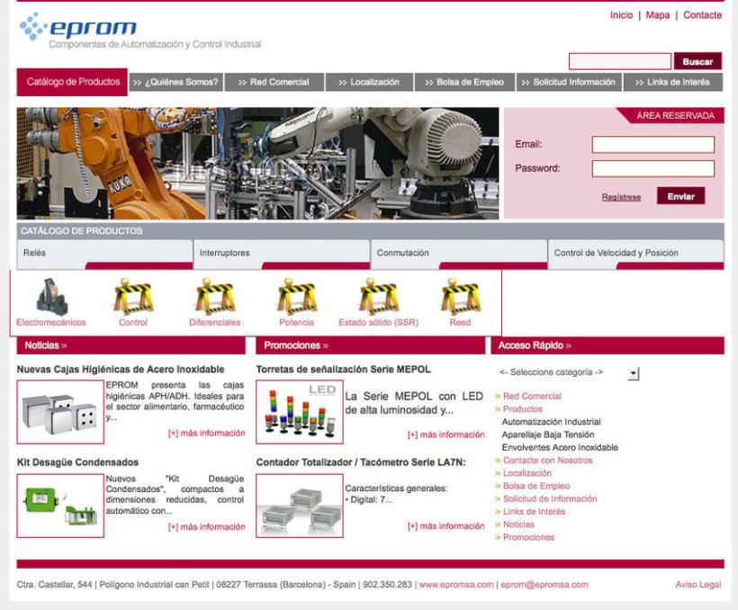 Eprom - Pagina a medida para empresa de componentes de automatización y control industrial 2
