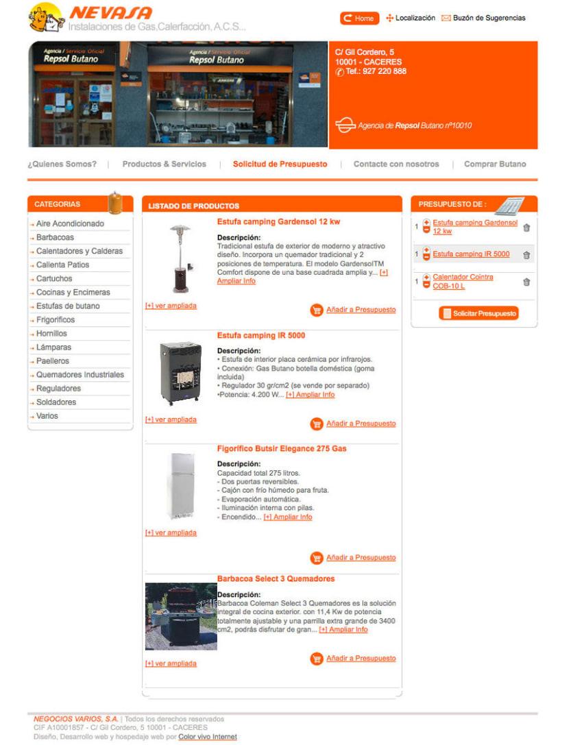 Nevasa - Pagina a medida para empresa de instalaciones de gas, calefacción, A.C.S... 2