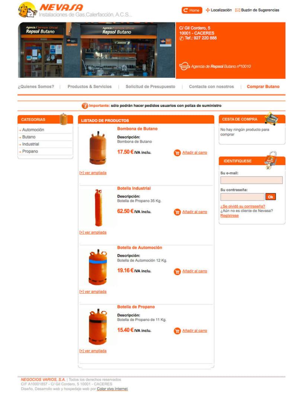 Nevasa - Pagina a medida para empresa de instalaciones de gas, calefacción, A.C.S... 3