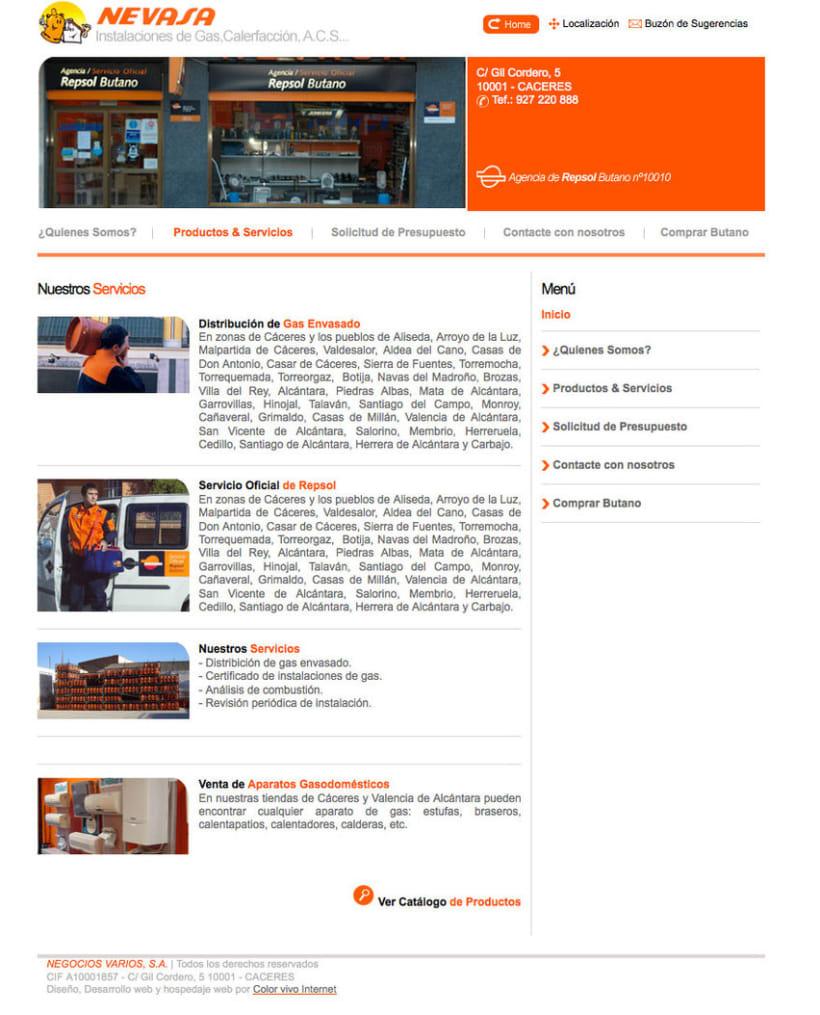 Nevasa - Pagina a medida para empresa de instalaciones de gas, calefacción, A.C.S... 1