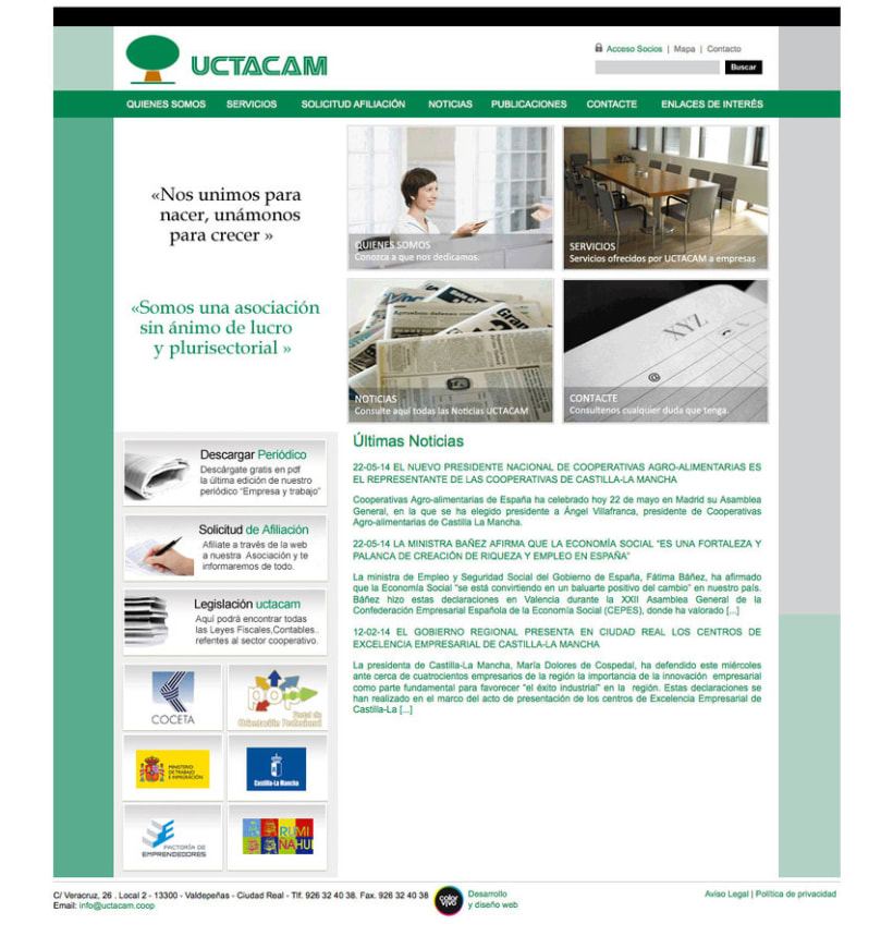 UCTACAM - Gestor de contenidos desarrollado para la Unión de Cooperativas de Trabajo Asociado Autónomas Manchegas 0