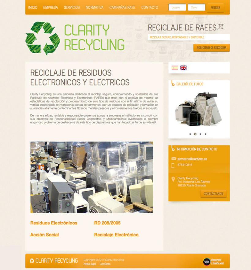 Clarity Recycling - Página a medida desarrollada para empresa especializada en el tratamiento y reciclaje de Residuos de Aparatos Eléctricos y Electrónicos (RAEEs)  -1