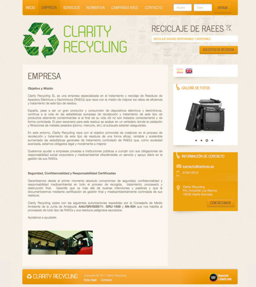 Clarity Recycling - Página a medida desarrollada para empresa especializada en el tratamiento y reciclaje de Residuos de Aparatos Eléctricos y Electrónicos (RAEEs)  0