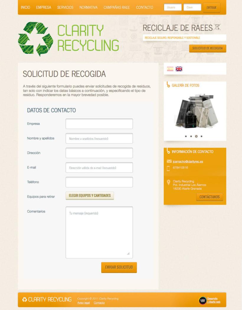 Clarity Recycling - Página a medida desarrollada para empresa especializada en el tratamiento y reciclaje de Residuos de Aparatos Eléctricos y Electrónicos (RAEEs)  1