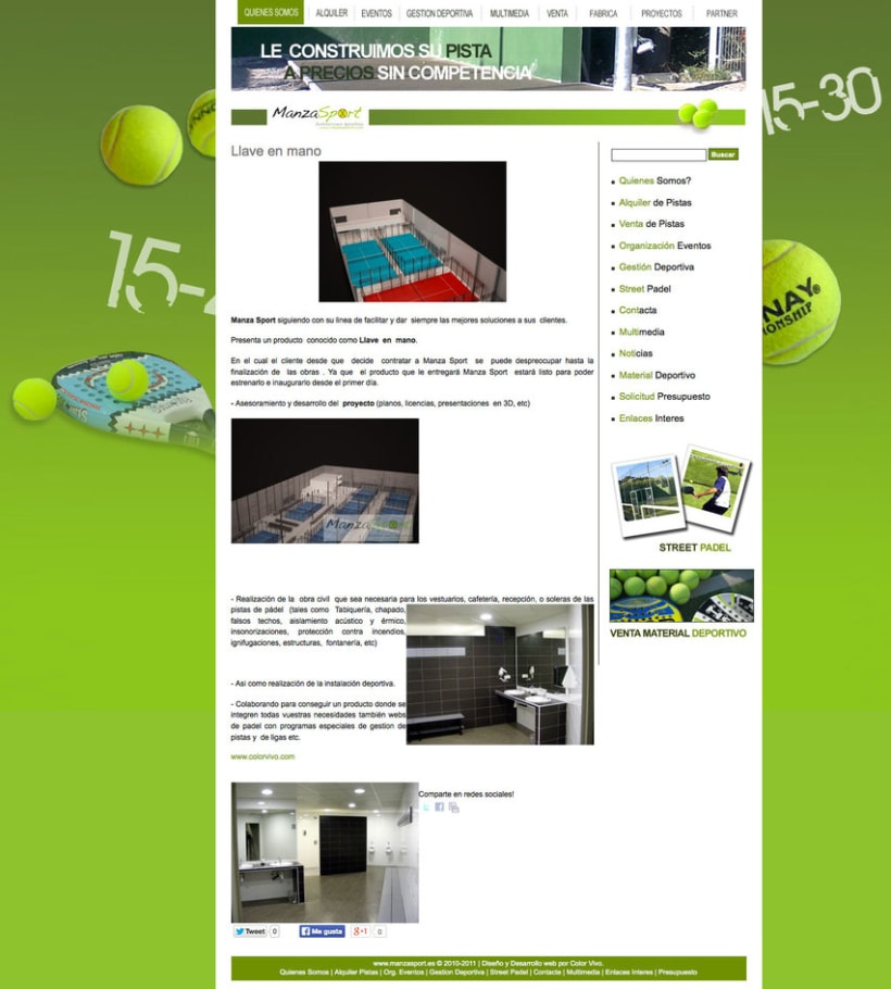 Manzasport - Gestor de contenidos para empresa de gestión de eventos deportivos de pádel 2
