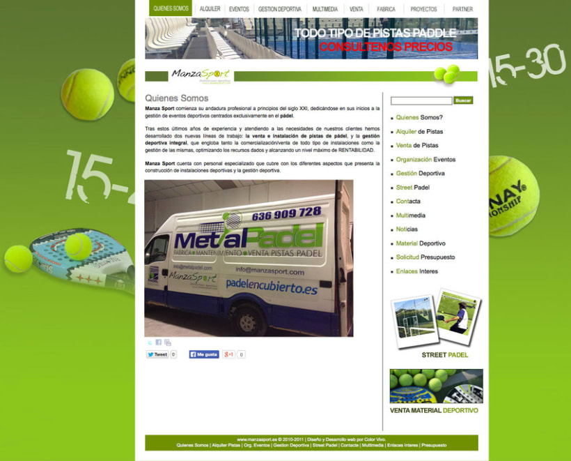Manzasport - Gestor de contenidos para empresa de gestión de eventos deportivos de pádel 1