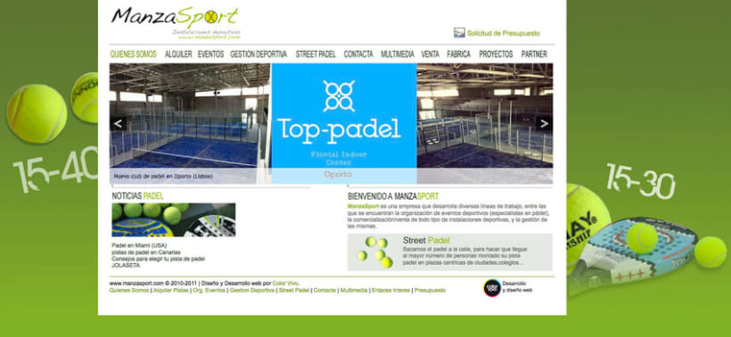 Manzasport - Gestor de contenidos para empresa de gestión de eventos deportivos de pádel 0
