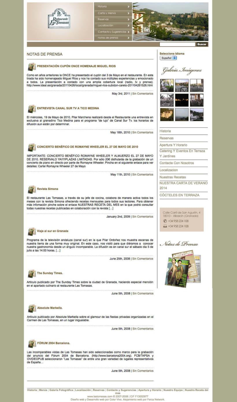 """Las Tomasas - Gestor de contenidos desarrollado para el restaurante granadino """"Las Tomasas"""" 2"""