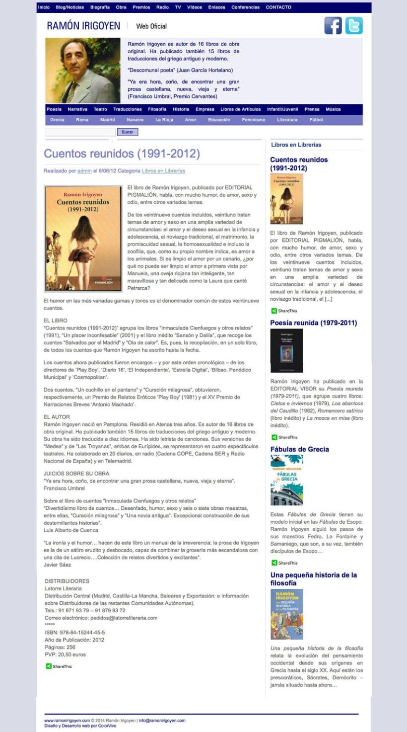 Ramón Irigoyen - Gestor de contenidos desarrollado para el escritor Ramón Irigoyen 0