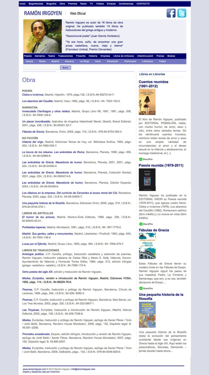 Ramón Irigoyen - Gestor de contenidos desarrollado para el escritor Ramón Irigoyen 1