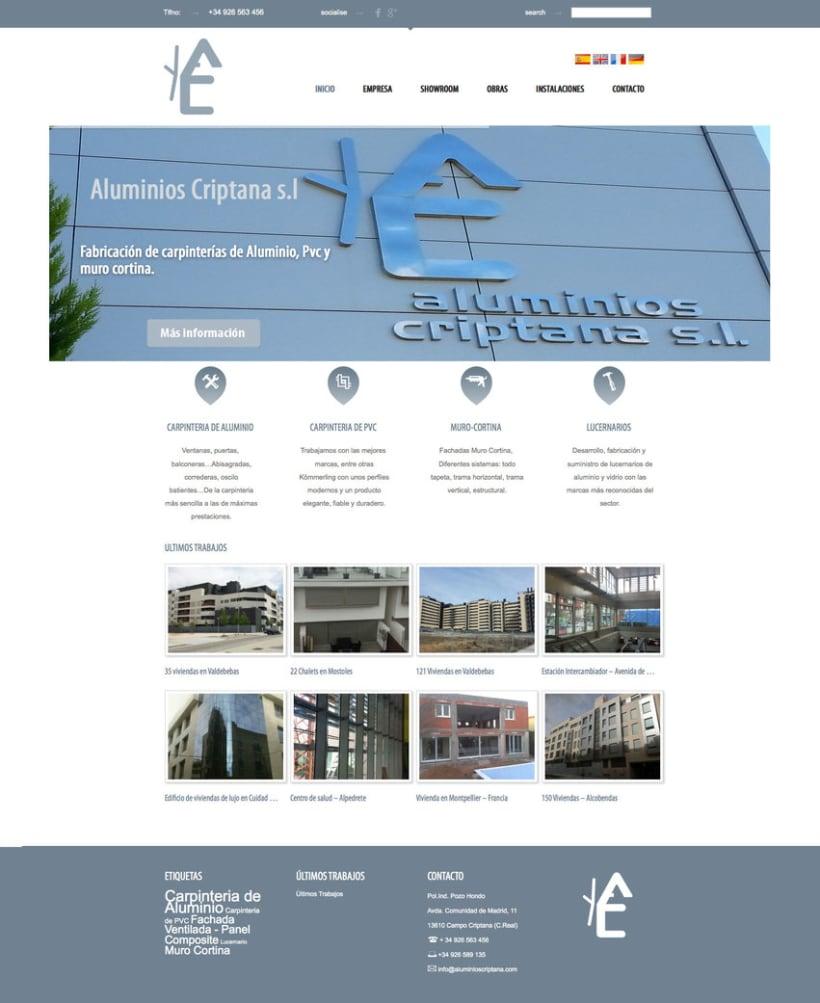 Aluminios Criptana - Gestor de contenidos para empresa de carpinteria de aluminios y PVC 0