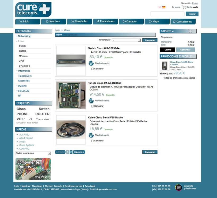 Hardware Telecom - Tienda Online desarrollado para empresa de suministro de equipamiento y accesorios  Cisco, IBM, Nortel, HP... 1