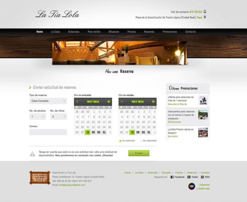Casa Rural Tia Lola - Pagina XHTML desarrollada para hostal - casa rural 2