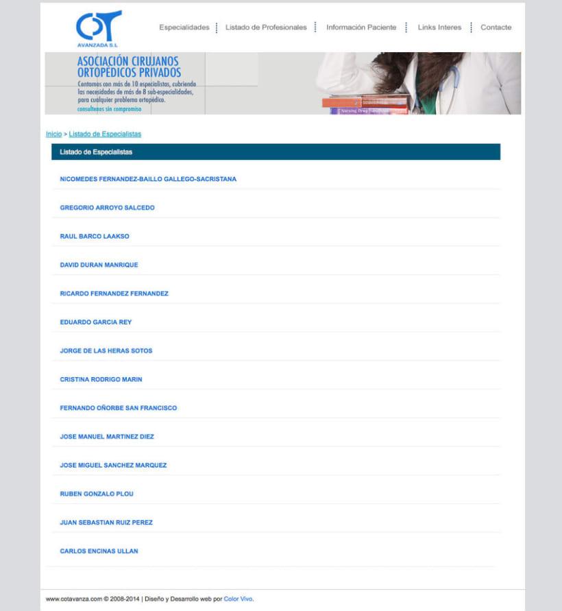 COT AVANZADA - Portal a medida para una asociación de cirujanos ortopédicos privados de Madrid 0