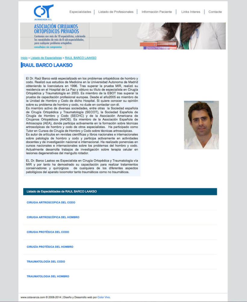 COT AVANZADA - Portal a medida para una asociación de cirujanos ortopédicos privados de Madrid 1