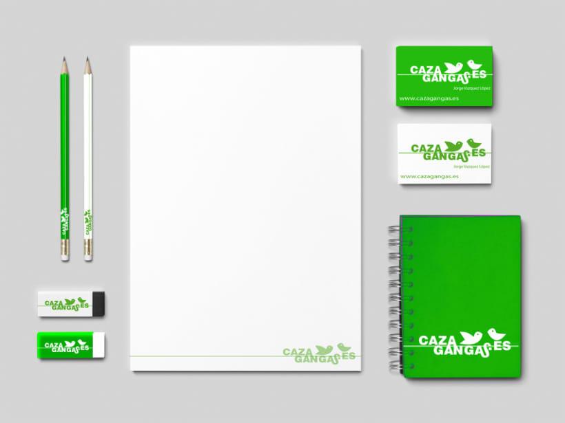 Logo, papelería y web de cazagangas.es 1