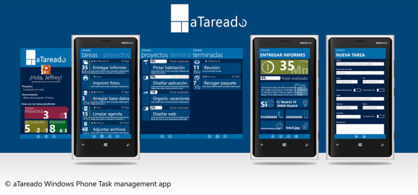© aTareado aplicación de gestión de tareas para Windows Phone 8 0