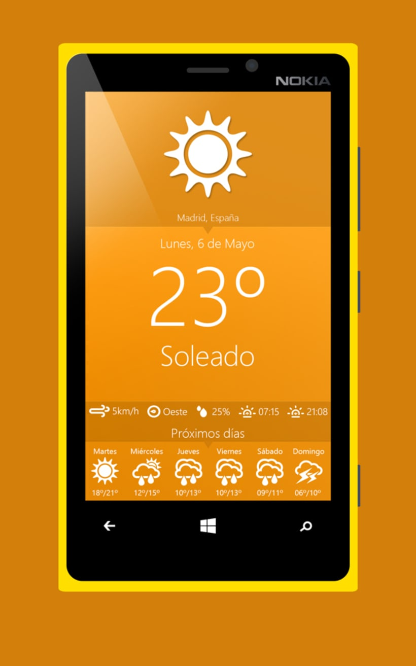 Aplicación meteorológica para móviles Windows Phone  1