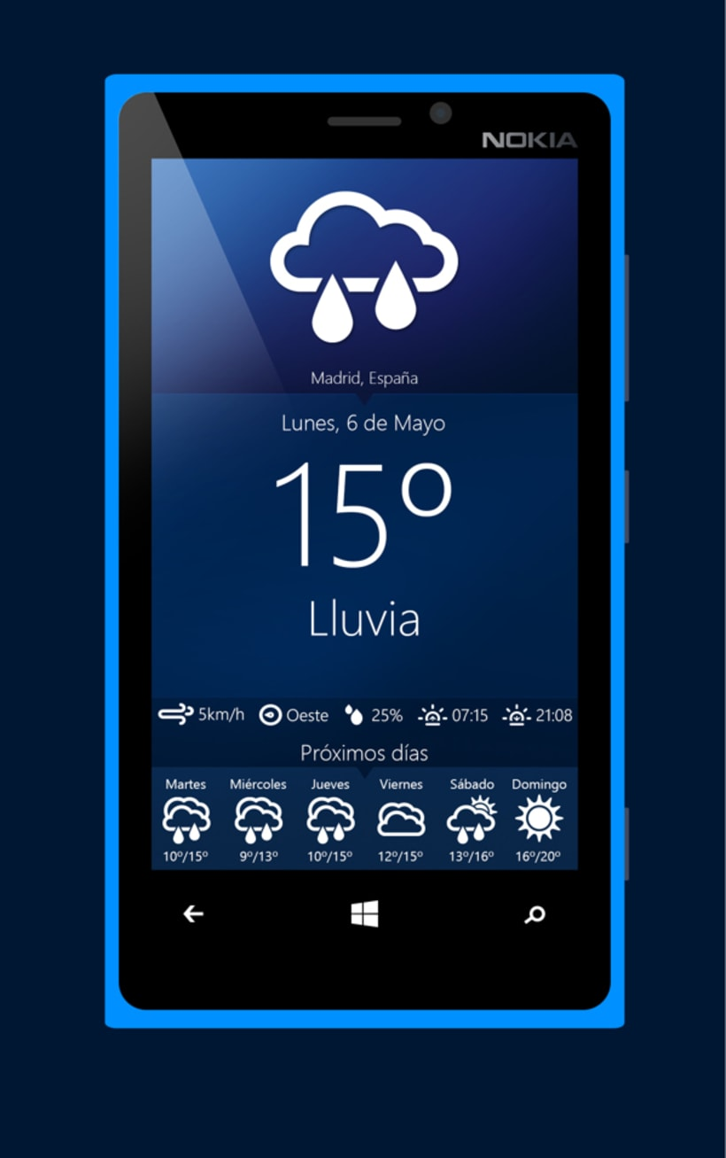 Aplicación meteorológica para móviles Windows Phone  2