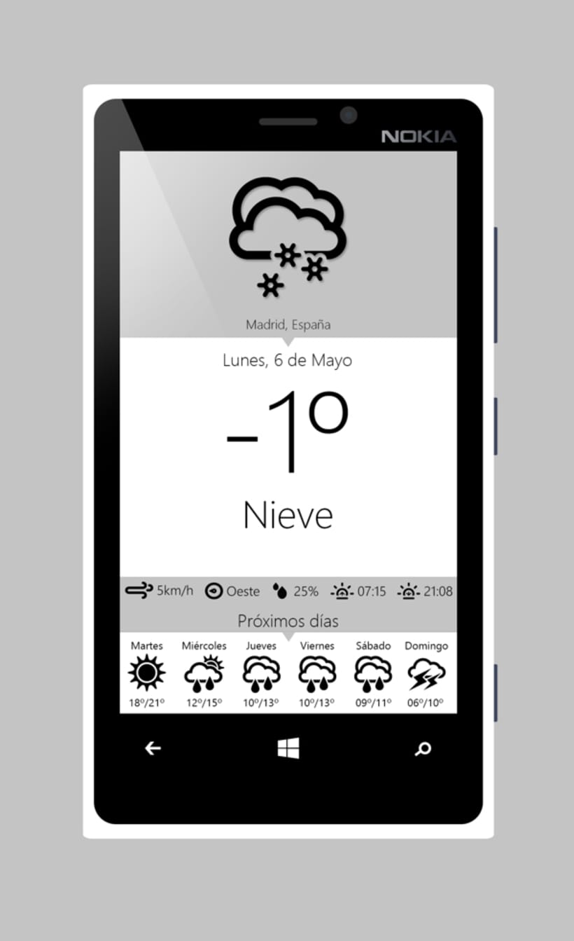 Aplicación meteorológica para móviles Windows Phone  3