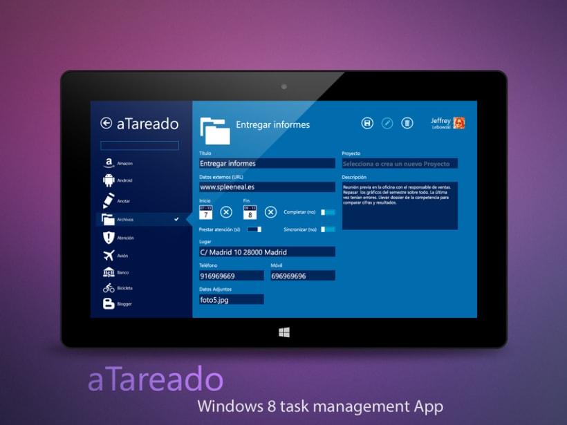 © aTareado aplicación de gestión de tareas para Windows 8  3