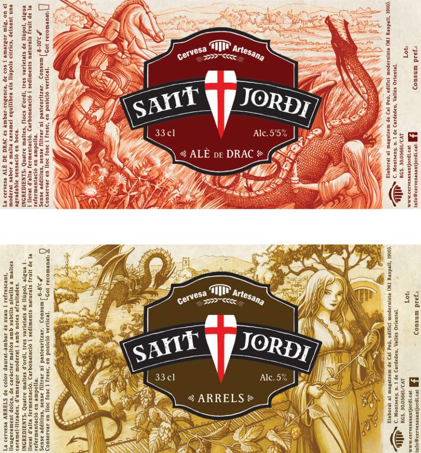 Diseño e ilustración de las etiquetas para la cerveza artesana Sant Jordi de Cardedeu 0