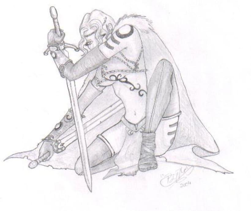 Fantasia guerreras medieval lapiz 5