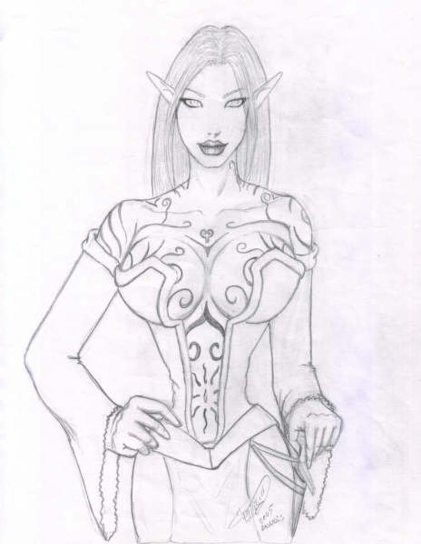 Fantasia guerreras medieval lapiz 7