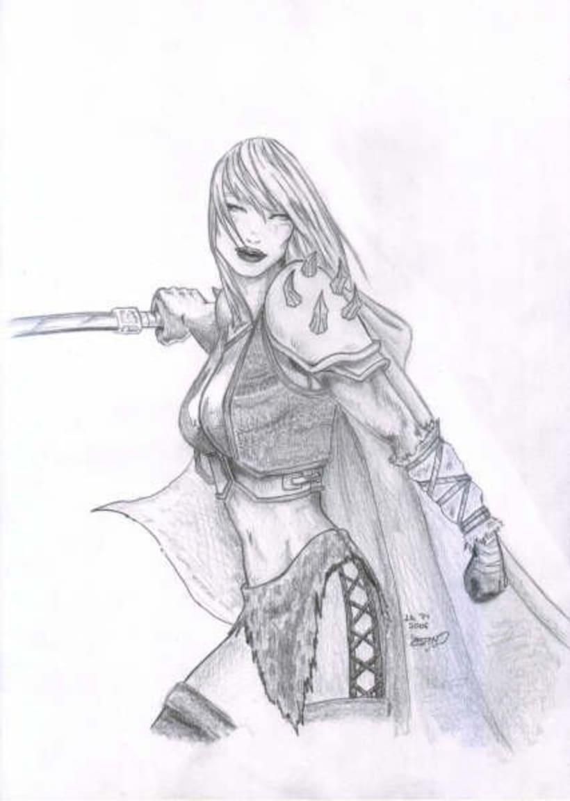 Fantasia guerreras medieval lapiz 9