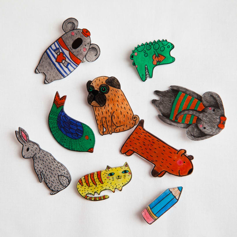 Shrink plastic handpainted brooches 9