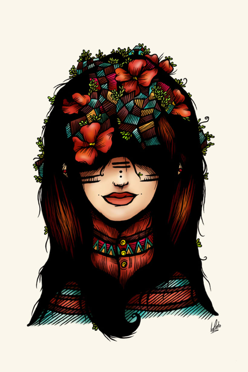 The girl who was thinking about geometry & red flowers 0