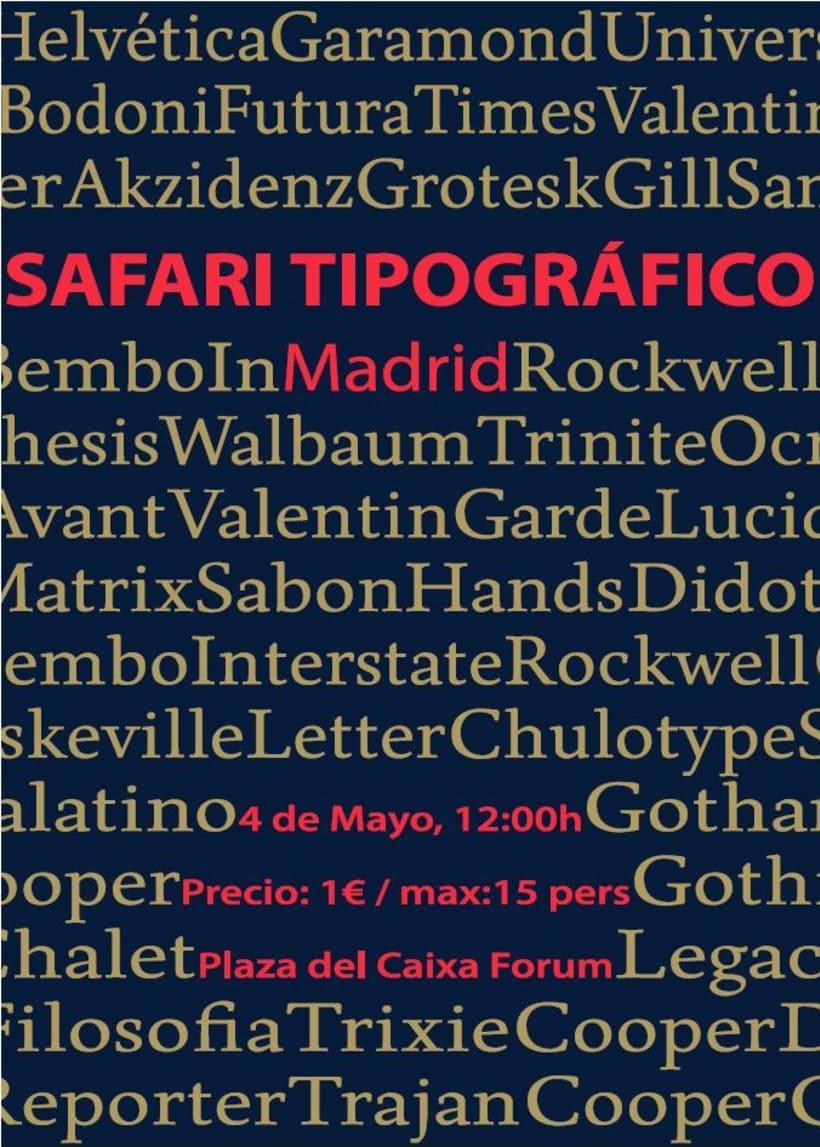 Propuesta de Maquetación Póster Safary Tipográfico en Madrid 0