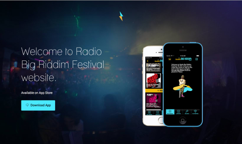 Landing page for Radio Big Riddim app - iPhone 0