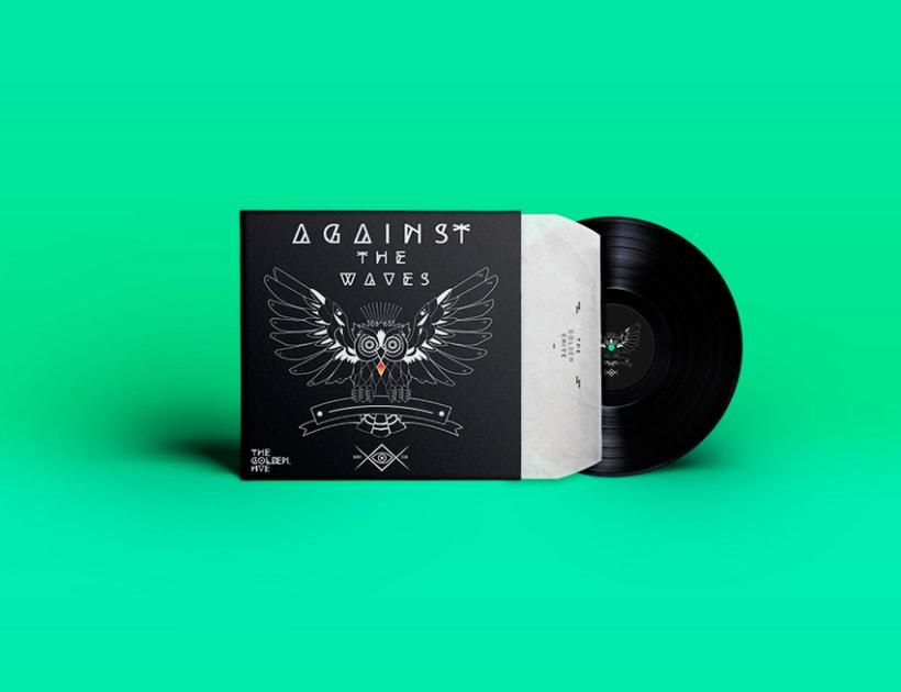 Against The Waves - Vinyl Owl logo design  -1
