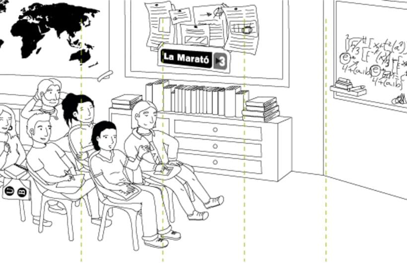 Digital illustration | Scenemob stages. Marató de Barcelona, social event. Casal Infantil Urgell, Ajuntament de Barcelona 4