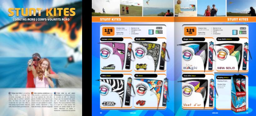 Diseño de catálogos de juguetes y cometas para Eolo-Sport 10