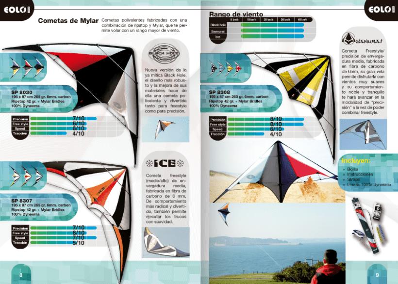 Diseño de catálogos de juguetes y cometas para Eolo-Sport 13