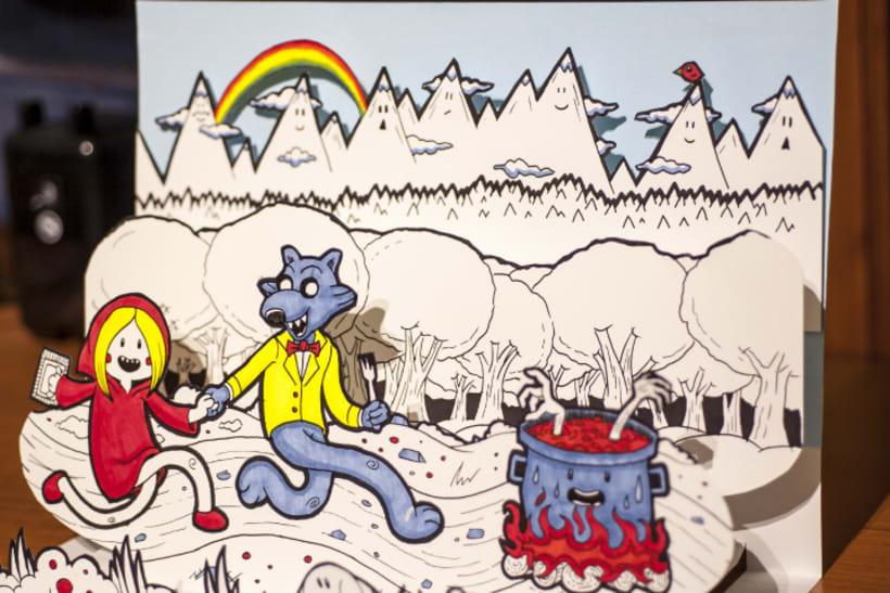 Ilustración Pop-Up de Caperucita Roja 1