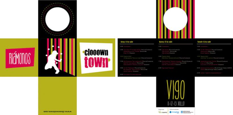 Logomarca y aplicaciones publicitarias para Clooown Town 2