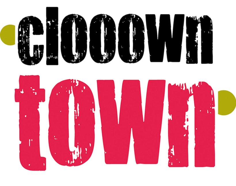 Logomarca y aplicaciones publicitarias para Clooown Town 1
