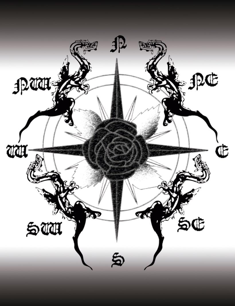 Rosa de los vientos y dragones.Photoshop e ilustrator. -1