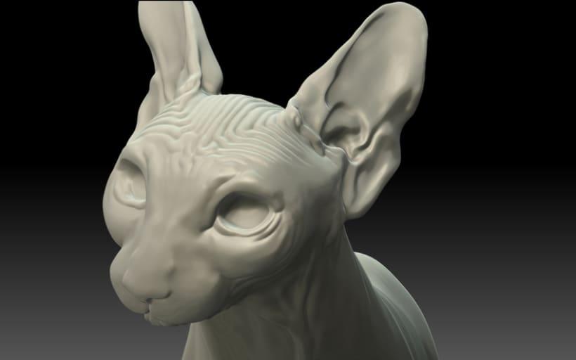 WIP. Escultura digital, gato esfinge -1