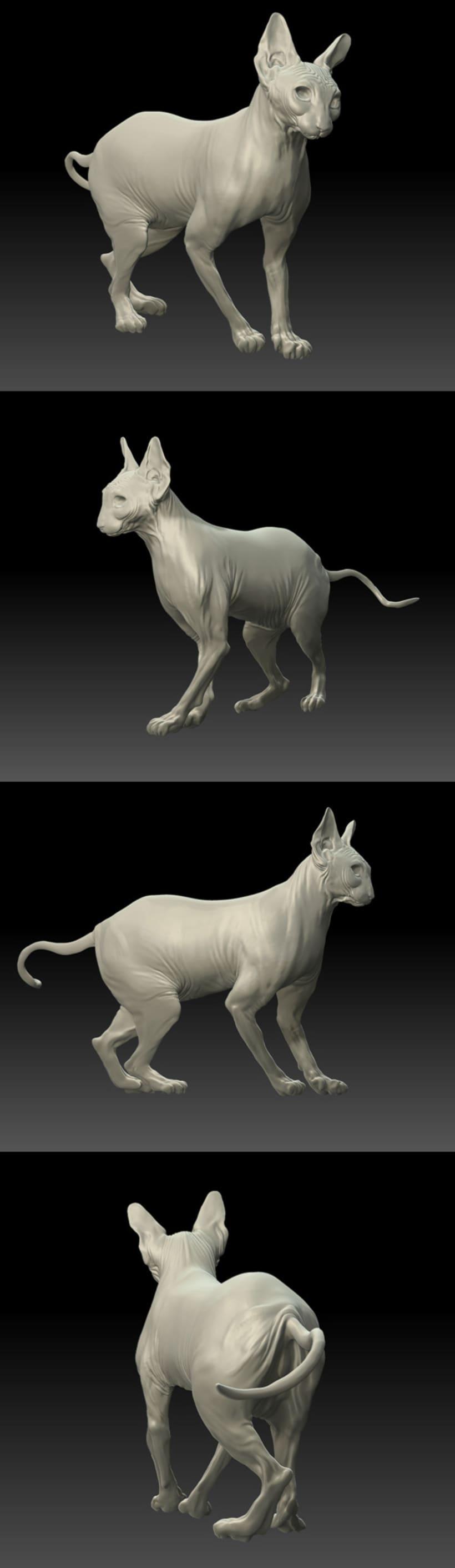 WIP. Escultura digital, gato esfinge 0