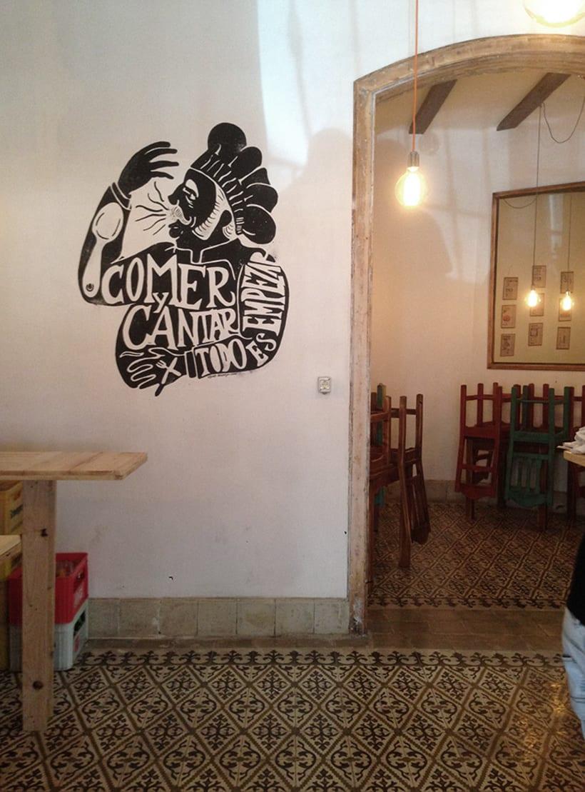 Ilustraciones para murales en Deboca Bar 0