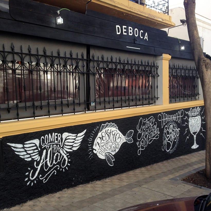 Ilustraciones para murales en Deboca Bar 4