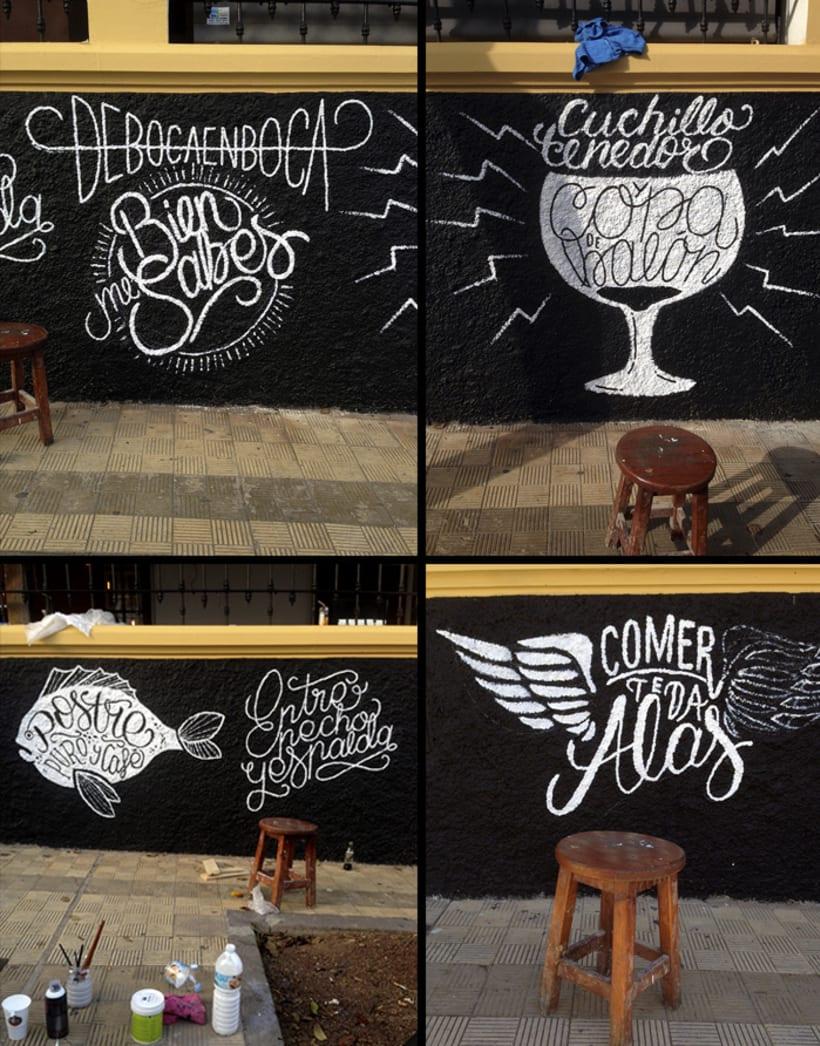 Ilustraciones para murales en Deboca Bar 5