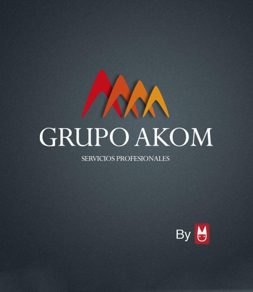 Logotipo e imagen gráfica, Grupo Akom -1